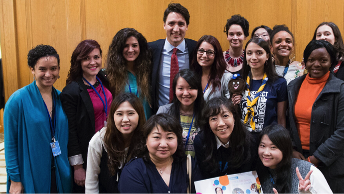 "Prime Minister Trudeau of Canada with YWCA representatives at the YWCA and UN Women ""Hub"" at the nearby Westin Hotel on 42nd Street"