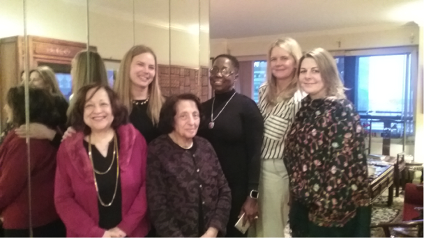 World YWCA representatives met at the Salahs                             L to R: Rima Salah, Anna Weyher, Doris Salah,                         Deborah Thomas, CEO Malayah Harper, and Jill Sen